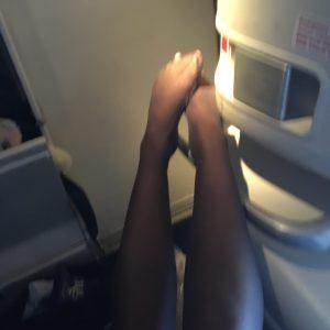 Worn tights in nearly black